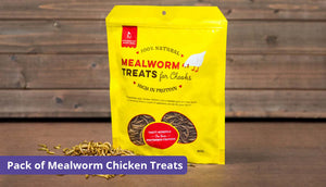 a pack of mealworm treats for chickens