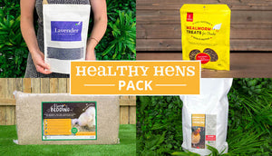 healthy hens bundle pack with 200g dried lavender and chicken hemp bedding and mealworm treats and 4kg of diatomaceous earth