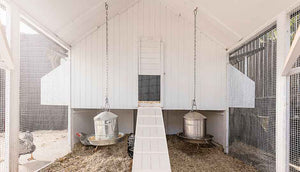 white painted interior mansion chicken coop
