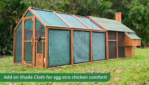 mansion chicken coop and run with shade cloth