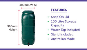 100 litre rain water tank stand included with features list