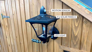 screw on solar light lamp with motion sensor including features
