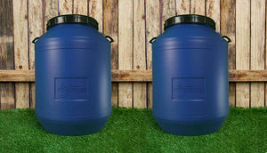two 60L blue storage drums