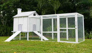 outdoor chicken coop painted white