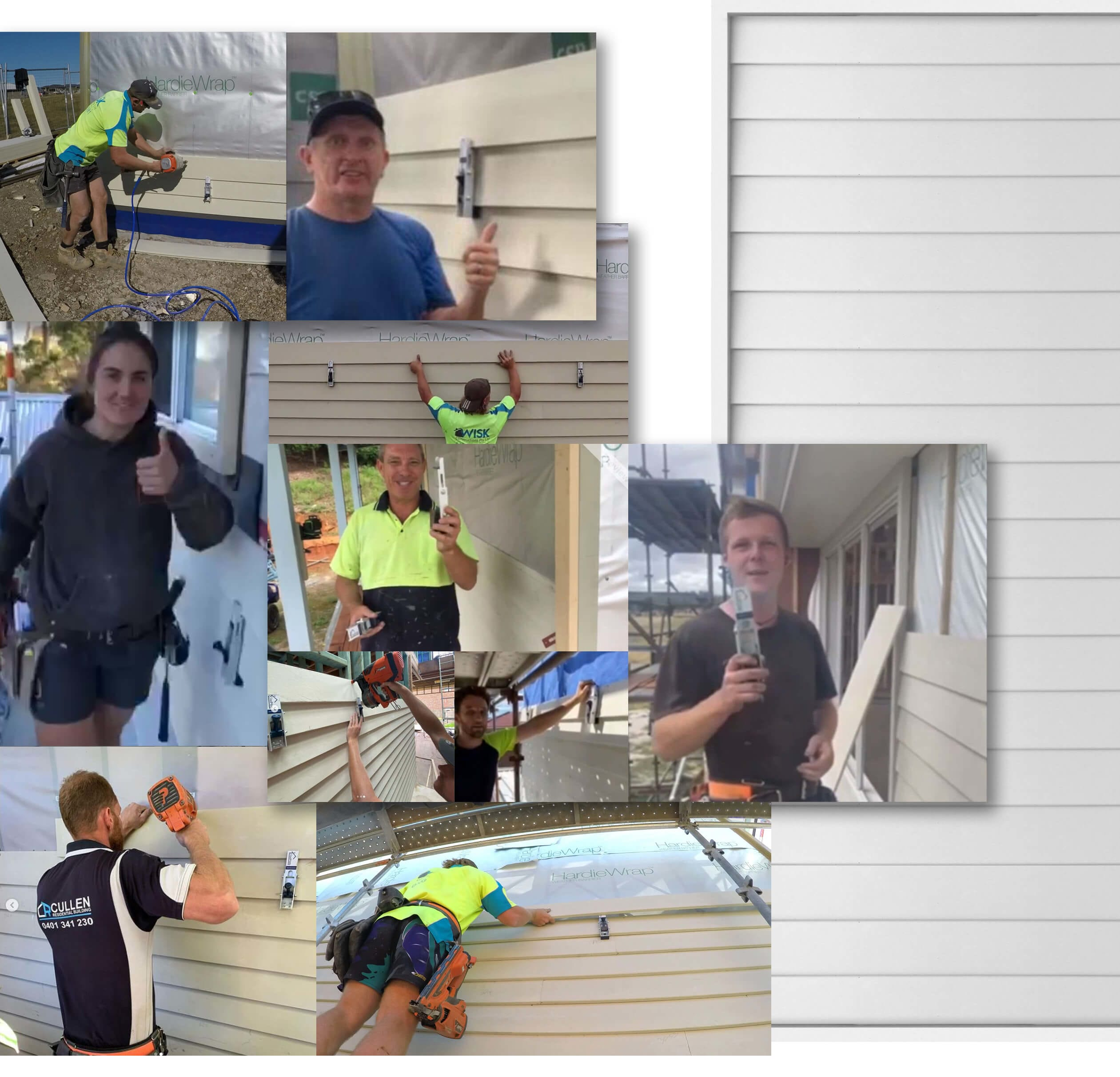 Carpenters Installing Weatherboards with CladMate Cladding Clamps