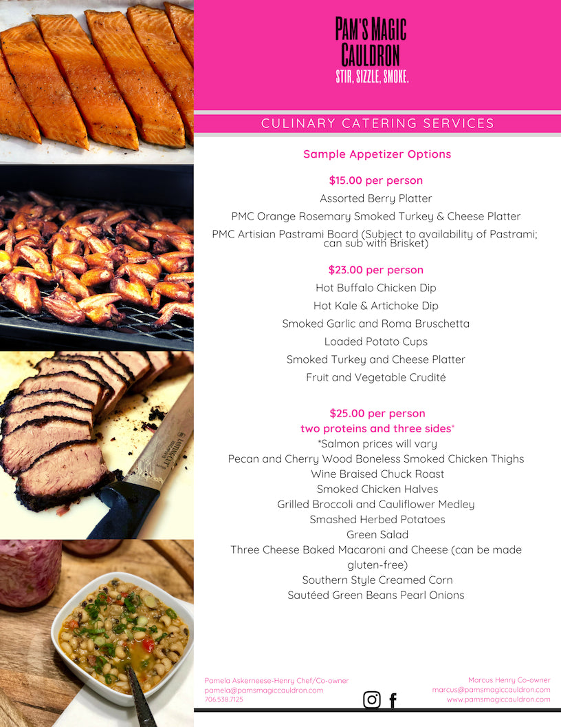 Page 1 of the PMC Catering Menu