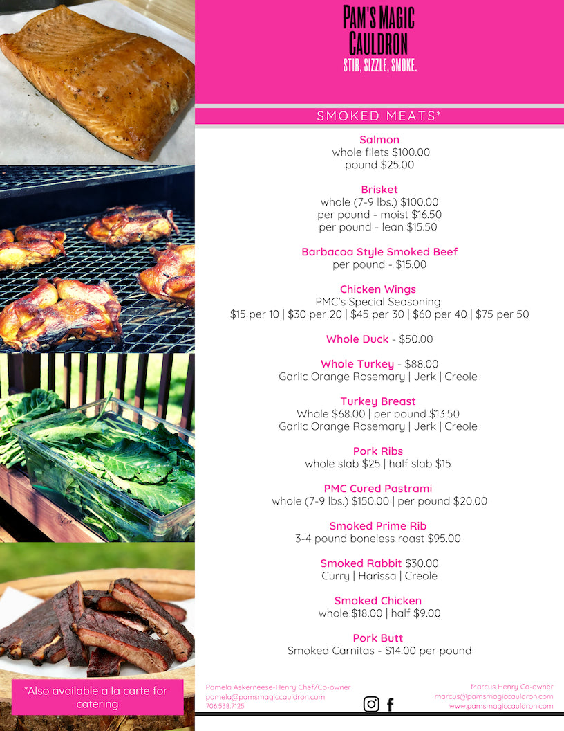 Page 6 of the PMC Catering Menu