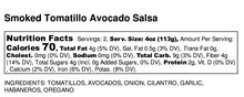 Load image into Gallery viewer, Nutritional Facts for Pam's Magic Cauldron's Smoked Tomatillo Avocado Salsa