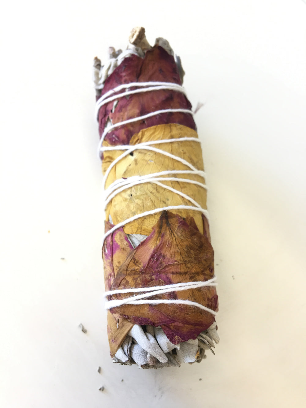 White Sage with Fresh Rose Petals- 4""