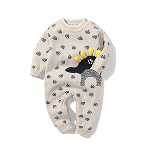 Newborn Baby Double Knitted Wool Dinosaur Rompers Baby Romper baby clothes shop uk
