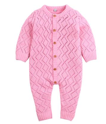 Newborn Baby Solid Pink Cable Knitted Romper ( Newborn - 24 Months ) Baby Romper baby clothes shop uk