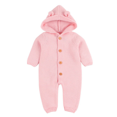 Newborn Baby Hooded Pink Winter Romper ( Newborn - 24 Months ) Baby Romper baby clothes shop uk
