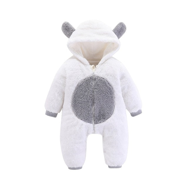 Classic White Hooded Baby Bear Romper, Onesie 0 - 24 Months