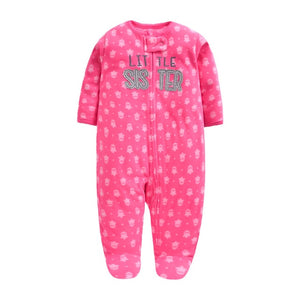 Newborn Baby little Sister Pink Long Sleeved  Fleece bodysuit / Romper | 0 - 12 Months