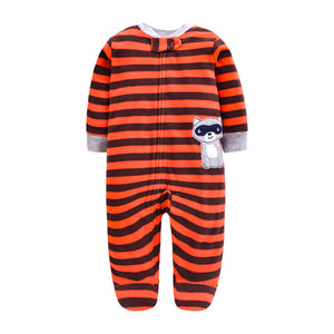 Newborn Baby Stripey Red Long Sleeved  Fleece bodysuit / Romper | 0 - 12 Months