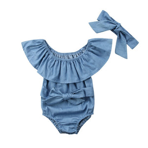 Cute Baby Girls Front Bowknot Bodysuit | Baby Sleeveless Denim Summer Romper  | Baby Girls Outfit