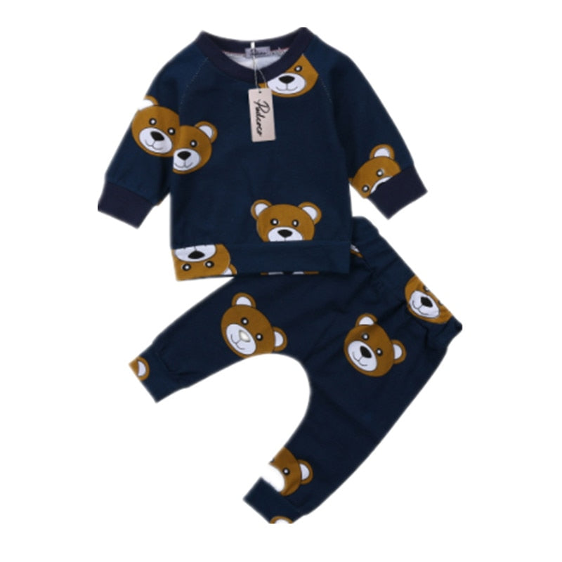 Baby Boy Navy Romper With Cute Bear Design. Romper With Snaps On Front