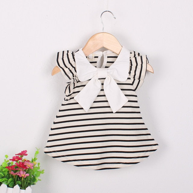 Baby Girls Black And White Sleeveless Dress Baby Clothes baby clothes shop uk