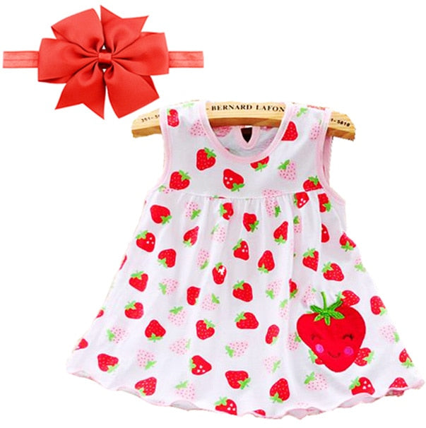 Baby Girls Strawberry Summer Outfit | Baby Girls Sleeveless Cotton dresses