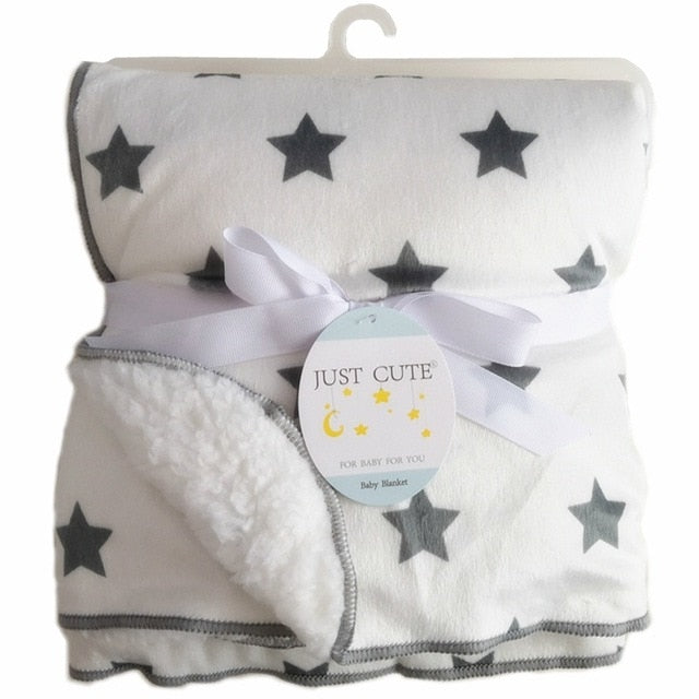 Double Layer Babys Thick Star Design Fleece Swaddle Baby Blanket - 0 - 24 Months