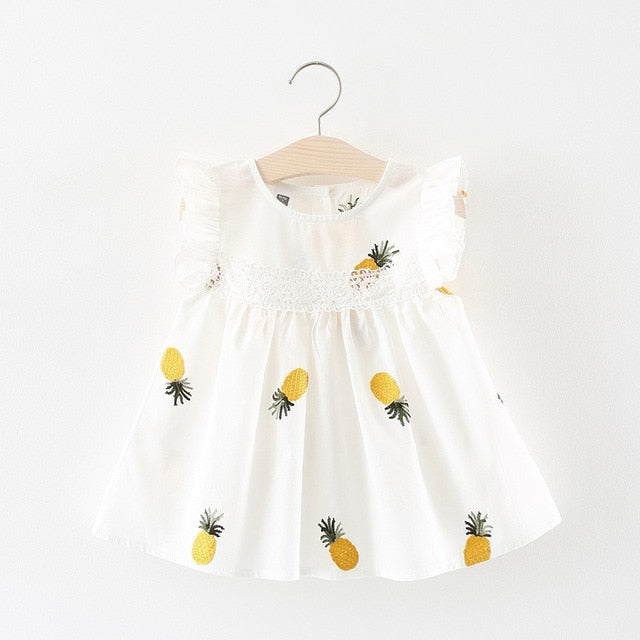 Baby Girls white Pineapple Summer Dress Baby Girl Dress baby clothes shop uk