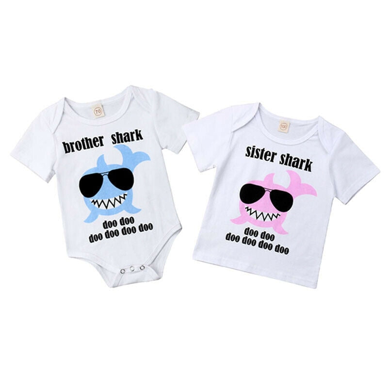 Sister & Brother Baby Shark Matching Outfits | Baby Boys | Baby Girls | Onesie, Romper | Cotton T shirt & Shorts Baby Shark Summer Outfit Baby Clothes Set baby clothes shop uk