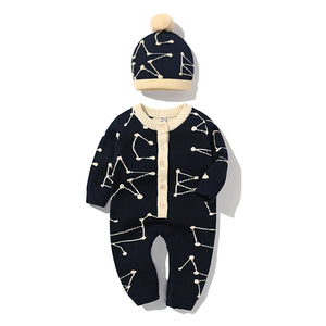 Newborn Baby winter double-knitted wool. hat and cotton romper