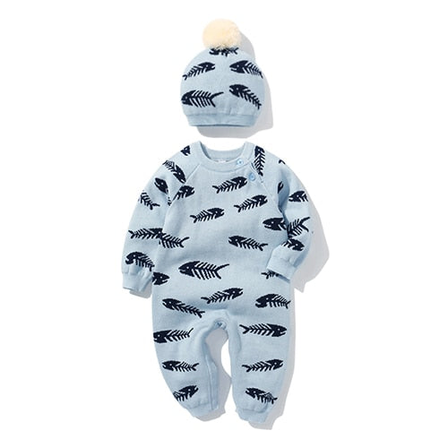Newborn Baby Double Knitted Wool Light Blue Little Fishy Rompers And Hat