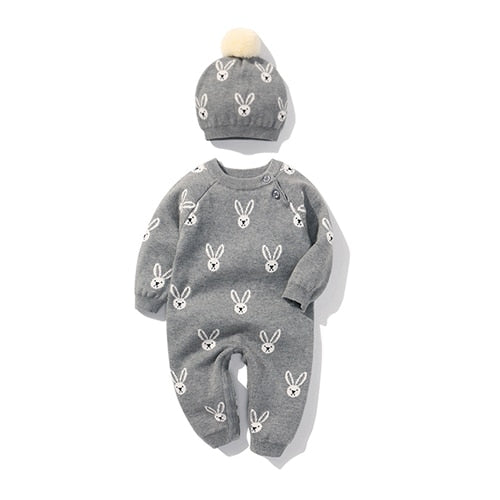 Newborn Baby Double Knitted Wool Grey Little Bunny Romper And Hat
