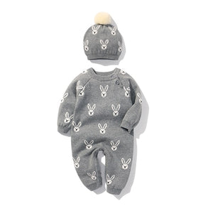 Newborn Baby Grey winter bunny onesie - Double-knitted wool hat and cotton romper set Baby Romper baby clothes shop uk