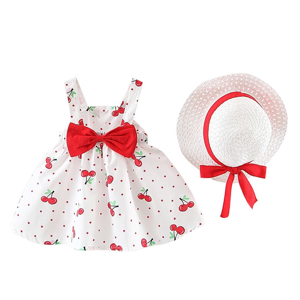 Children's Clothing Baby Girl Clothes Summer Party Clothing For Girls Dress Cherry Dot Princess Dresses Bow Hat Outfits