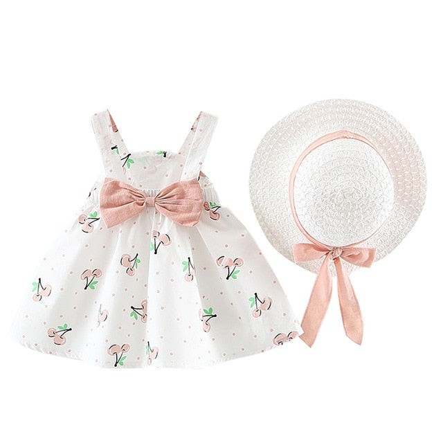 Children's Clothing Baby Girl Clothes Summer Party Clothing For Girls Dress Cherry Dot Princess Dresses Bow Hat Outfits  baby clothes shop uk