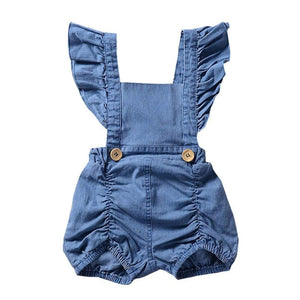 78e98037 Baby Girl Denim Ruffles Romper Jumpsuit Sunsuit Outfits - Baby clothes  Toddler Sets baby shop 2019