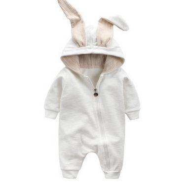 Toddler Sets Baby Romper, Cute Rabbit Baby onesie. 0 - 12M White