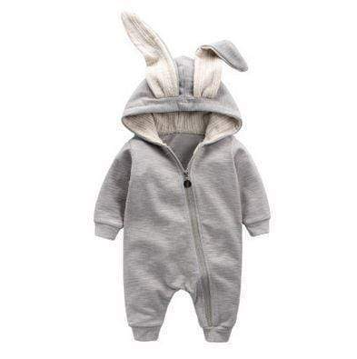 Toddler Sets Baby Romper, Grey Bunny Rabbit Baby onesie. 0 - 12M