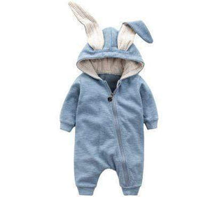 Baby Romper, Grey Bunny Rabbit Baby onesie. White. 0 - 12M Toddler Sets baby clothes shop uk