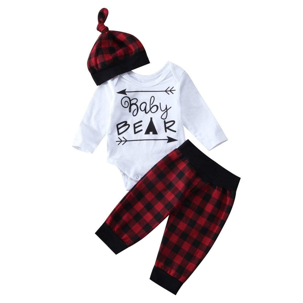 Red Plaid Christmas Infant Baby Girls Bear Romper - Baby clothes Toddler Sets baby clothes shop uk
