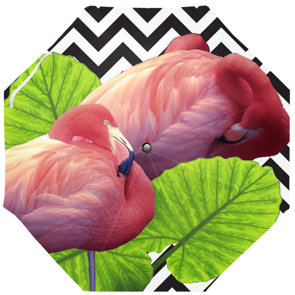 Scott Herndon Photography Collection: Tropical Umbrella- Flamingos, Tropical Green Leaves and Chevron