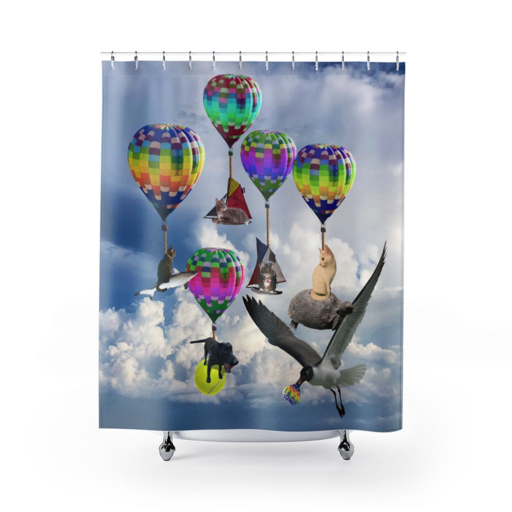 Shower Curtains - Cats, Dogs, a shark and hot air balloons! Fantasy land!