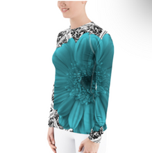 Load image into Gallery viewer, Rash guard - Swim Shirt - Sun Shirt - UPF Shirt - Turquoise Floral Shirt