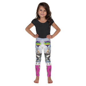 Kid's Leggings - Fantasy Scene of Hot Air Balloons with Dogs, Cats, a shark, a turtle and more crazy things.