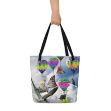 Load image into Gallery viewer, Tote Bag - Hilarious Surreal Scene with Dogs, Cats, a Shark and Hot Air Balloons!