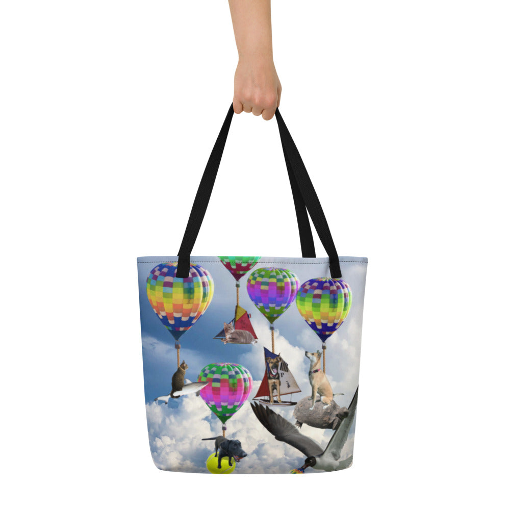 Tote Bag - Hilarious Surreal Scene with Dogs, Cats, a Shark and Hot Air Balloons!