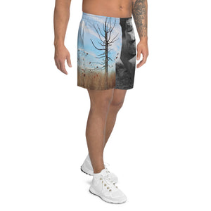 Men's Athletic Long Shorts - Stacked Rocks - Confident Tree
