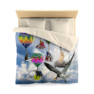 Microfiber Duvet Cover - Fantasy scene with cats, dogs, a shark and hot air balloons!