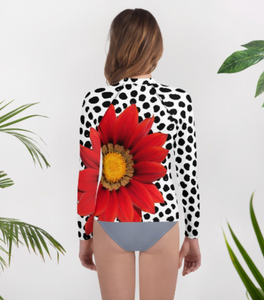 Youth Rash Guard - Fun UPF Red Flower Shirt with Black and White Polka Dots