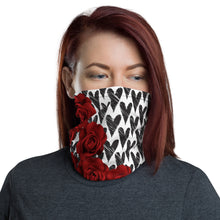 Load image into Gallery viewer, Neck gaiter - Roses and Hearts - Face Shield - Neck Warmer - Bandana - Headband - Face Mask