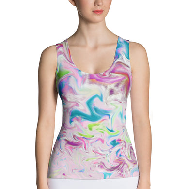 Sublimation Cut & Sew Tank Top - Pastel Pink and Blue Abstract