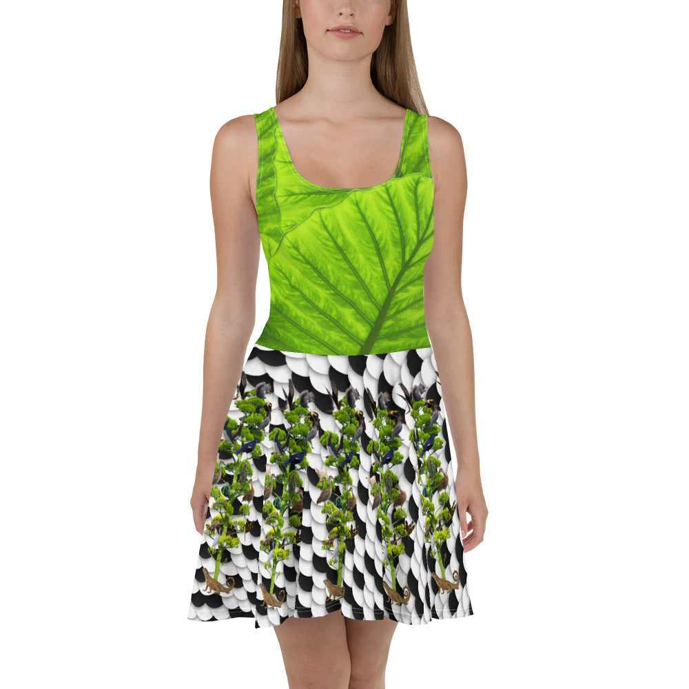 Skater Dress - Tropical leaves, winter snow scene, and tree of life with squirrel, lizards, birds, and more!