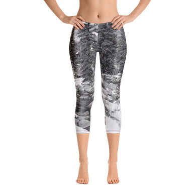 Capri Leggings - Winter Scene - Snow - Creek in Winter